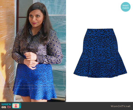 Issa Maisie Stretch Jacquard Skirt worn by Mindy Kaling on The Mindy Project