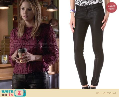 J Brand Coated Super Skinny Jeans worn by Ashley Benson on PLL