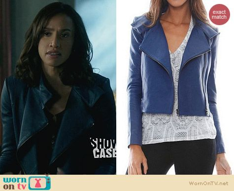 J Brand Connix Blue Leather Jacket worn by Nina Lisandrella on BATB