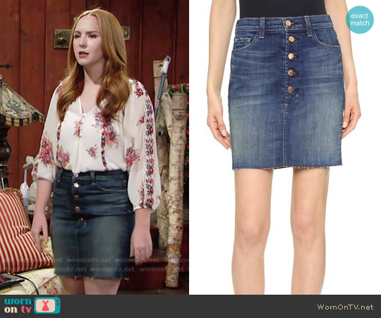 J Brand Rosalie Denim Skirt worn by Mariah Copeland on The Young & the Restless