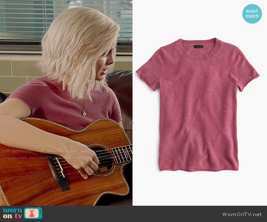 J. Crew Collection Cashmere Short Sleeve T-shirt in Berry worn by Liv Moore on iZombie