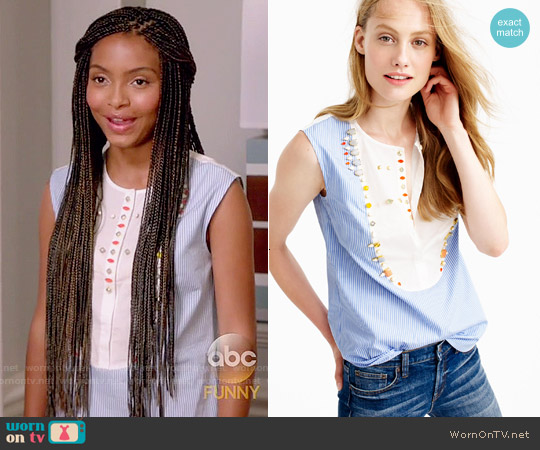 J. Crew Crystal Embellished Tuxedo Shell worn by Yara Shahidi on Blackish