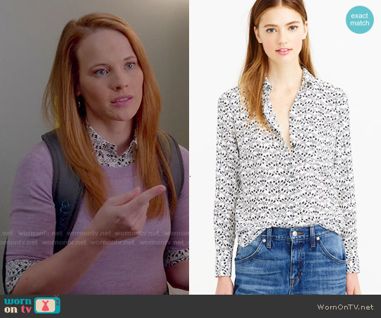 J. Crew Classic Silk Blouse in Key Print worn by Katie Leclerc on Switched at Birth