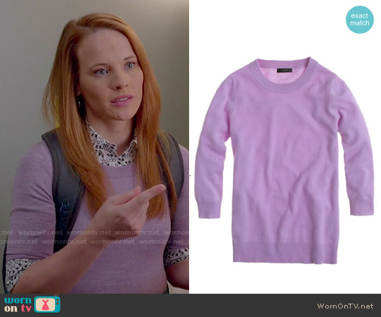 J. Crew Tippi Sweater in Iced Lilac worn by Daphne Vasquez on Switched at Birth