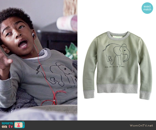 J. Crew Boys Wildlife Trust Elephant Sweatshirt worn by Miles Brown on Blackish