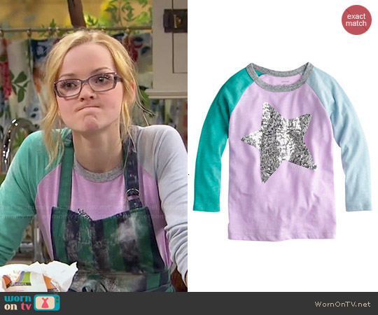 J. Crew Girls Sequin Colorblock Baseball Star Tee worn by Dove Cameron on Liv & Maddie