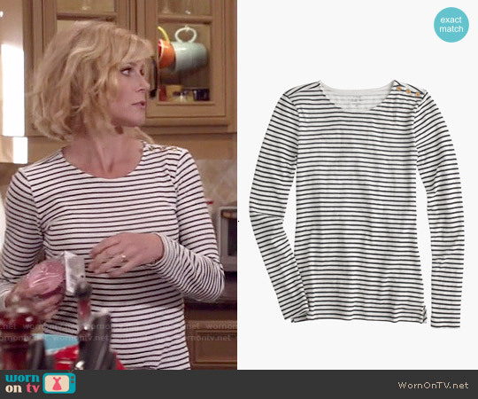 J. Crew Long Sleeve Striped Painter T-shirt worn by Julie Bowen on Modern Family