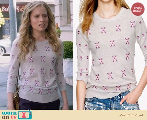 J. Crew Merino Tippi Sweater in Embroidered Flowers worn by Allie Grant on Suburgatory