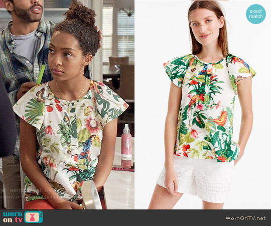 J. Crew Ruffle Sleeve Top in Ratti Into The Wild Print worn by Yara Shahidi on Blackish
