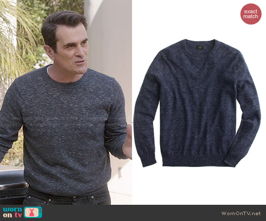 J. Crew Rugged Cotton Sweatshirt Sweater in Hthr Indigo worn by Ty Burrell on Modern Family
