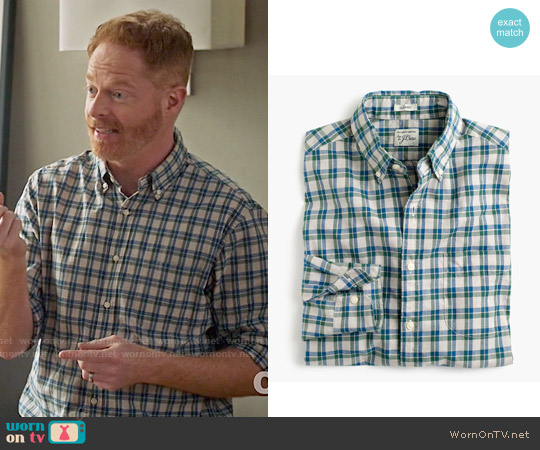 J. Crew Secret Wash Shirt in Heather Poplin Plaid in Hthr Oatmeal worn by Jesse Tyler Ferguson on Modern Family