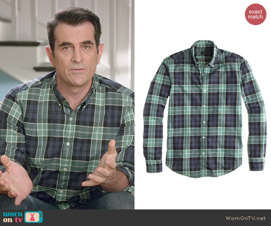 J. Crew Seret Wash Shirt in Heather Midnight Plaid worn by Ty Burrell on Modern Family