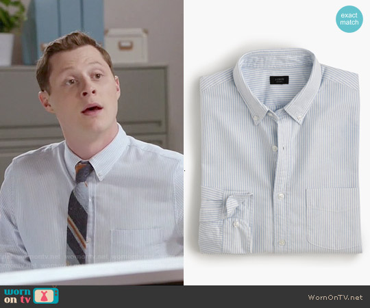 J. Crew Vintage Oxford Shirt in Sun-faded Stripe worn by Noah Reid on Kevin from Work