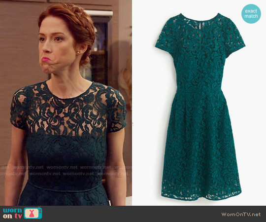 J. Crew Alisa Dress in Leavers Lace worn by Ellie Kemper on Unbreakable Kimmy Schmidt