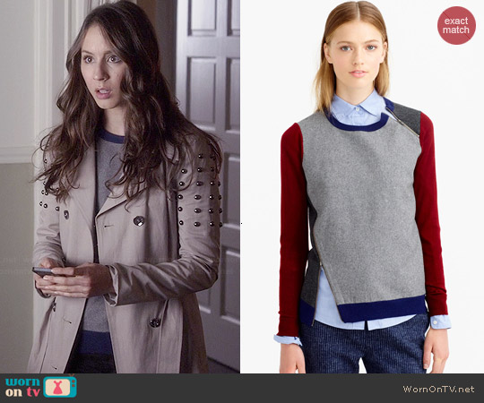 J. Crew Asymmetrical Colorblock Sweater worn by Troian Bellisario on PLL