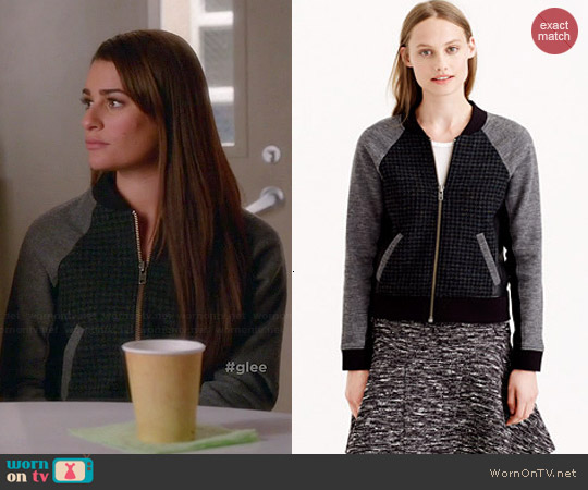 J. Crew Leather-trim Mixed Bomber Jacket worn by Lea Michele on Glee