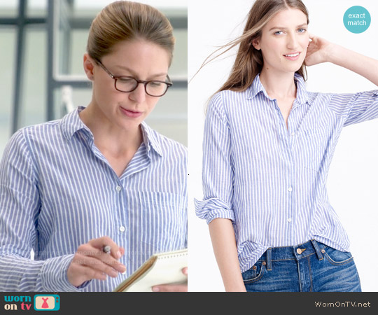 J. Crew Boy Shirt in Blue Skinny Stripe worn by Melissa Benoist on Supergirl
