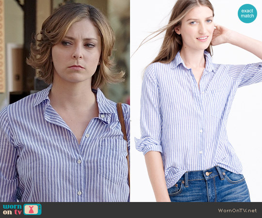 J. Crew Boy Shirt in Blue Skinny Stripe worn by Rachel Bloom on Crazy Ex-Girlfriend