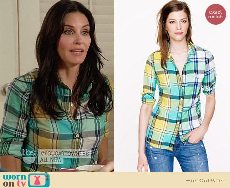J. Crew Boy Shirt in Green Plaid worn by Courtney Cox on Cougar Town