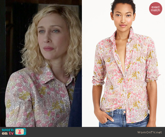J. Crew Boy Shirt in Tiny Poppydot Floral worn by Vera Farmiga on Bates Motel