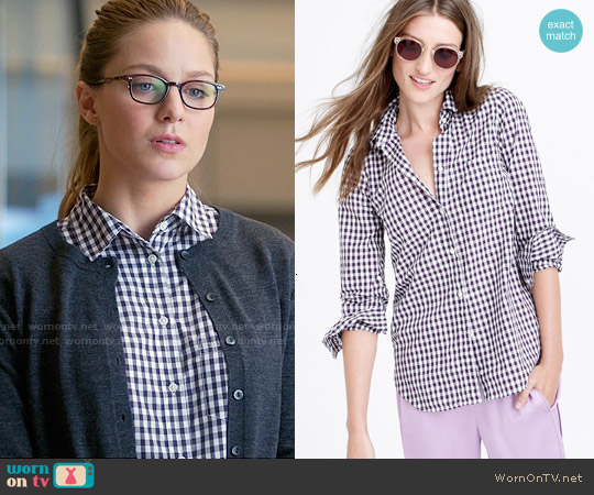 J. Crew Boy Shirt in Mini Gingham worn by Melissa Benoist on Supergirl