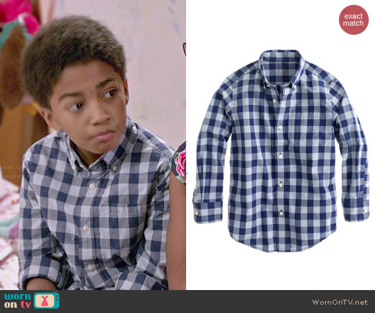 J. Crew Boys' Secret Wash Shirt in Dark Cove Gingham worn by Miles Brown on Blackish