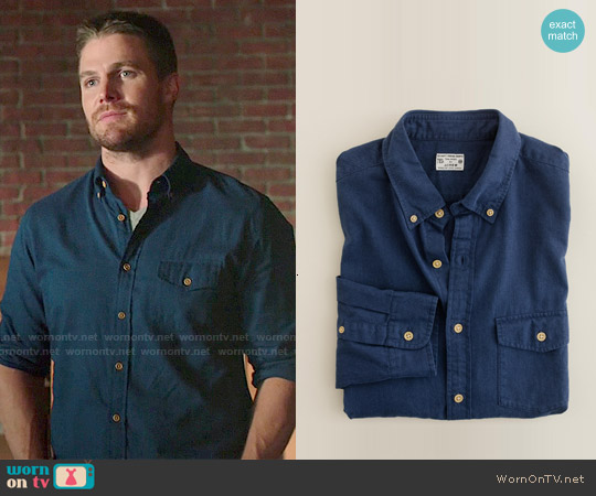 J. Crew Brushed Twill Utility Shirt worn by Stephen Amell on Arrow