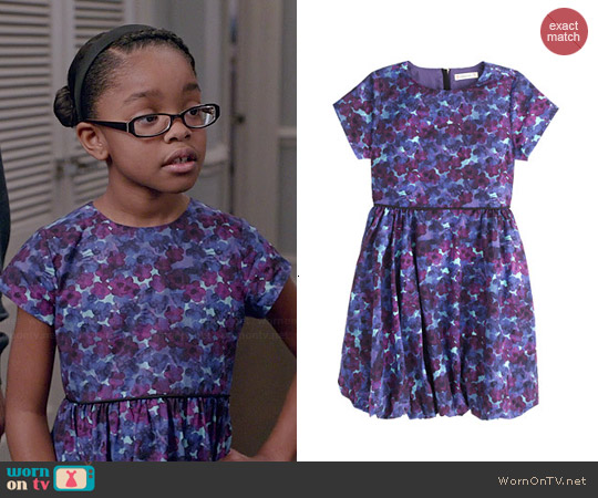 J. Crew Bubble Hem Dress in Violet Floral worn by Marsai Martin on Blackish