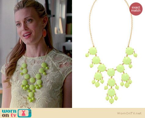 J. Crew Bubble Necklace in Light Citron worn by Brooke D'Orsay on Royal Pains