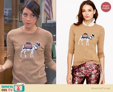 J. Crew Camel Sweater worn by Aubrey Plaza on Parks & Rec