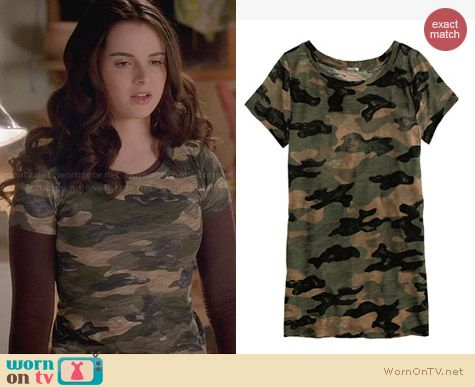 J. Crew Camo Tee worn by Vanessa Marano on Switched at Birth