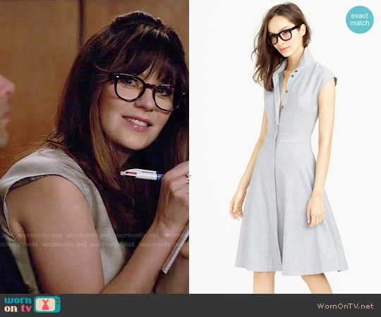 J. Crew Cap Sleeve Shirtdress in Super 120s Wool worn by Zooey Deschanel on New Girl