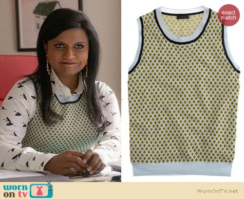 J. Crew Cashmere Diamond Print Shell worn by Mindy Kaling on The Mindy Project
