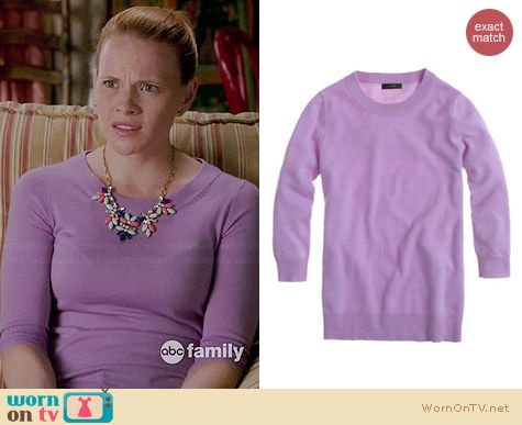 J. Crew Tippi Sweater in Iced Lilac worn by Katie Leclerc on Switched at Birth