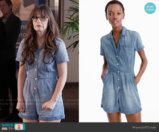 J. Crew Petite Chambray Romper worn by Zooey Deschanel on New Girl
