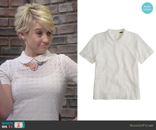 J. Crew Collared Eyelet Tee worn by Chelsea Kane on Baby Daddy