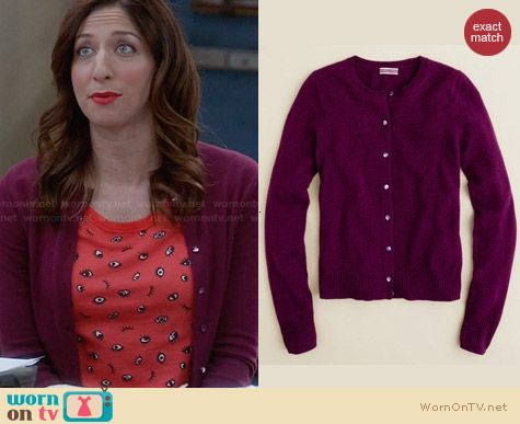 J. Crew Collection Cashmere Cardigan in Plum Orchid worn by Chelsea Peretti on Brooklyn99