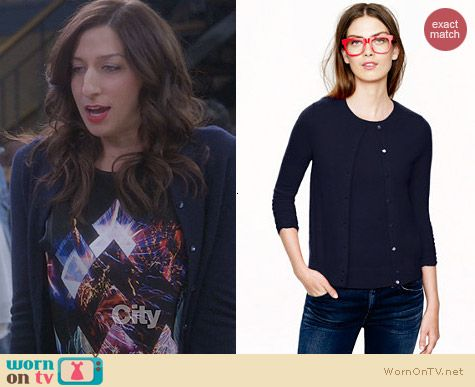 J. Crew Collection Cashmere Cardigan in Navy worn by Chelsea Perretti on Brooklyn99