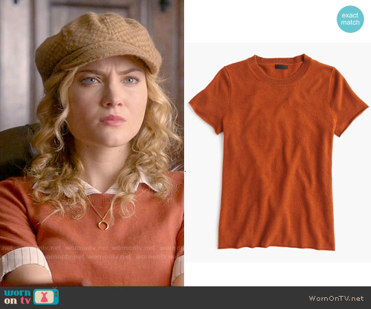 J. Crew Collection Cashmere Short Sleeve T-shirt in Warm Sepia worn by Skyler Samuels on Scream Queens
