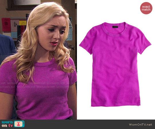 J. Crew Collection Cashmere Tee in Neon Hyacinth worn by Peyton List on Jessie