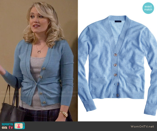 J. Crew Collection Cashmere V-neck Cardigan Sweater worn by Emily Osment on Young & Hungry