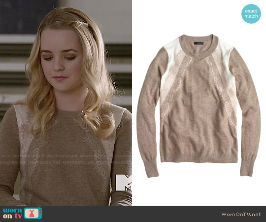J. Crew Colorblock Lace Panel Sweater in Birch Ivory worn by Anna Jacoby-Heron on Finding Carter