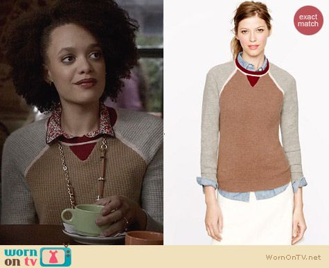 J. Crew Collection Cashmere Colorblock Waffle Sweater worn by Britne Oldford on Ravenswood