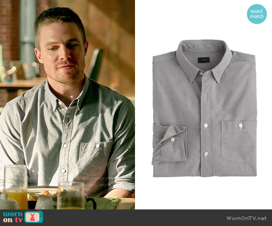 J. Crew Jaspe Shirt in Coal Grey worn by Stephen Amell on Arrow