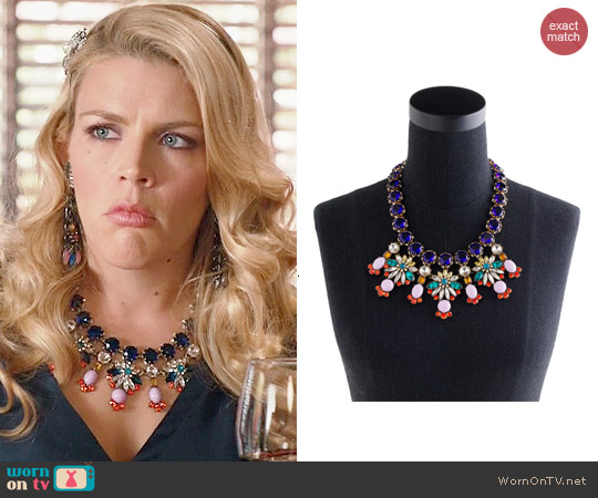 J. Crew Crystal Color Statement Necklace worn by Busy Phillips on Cougar Town
