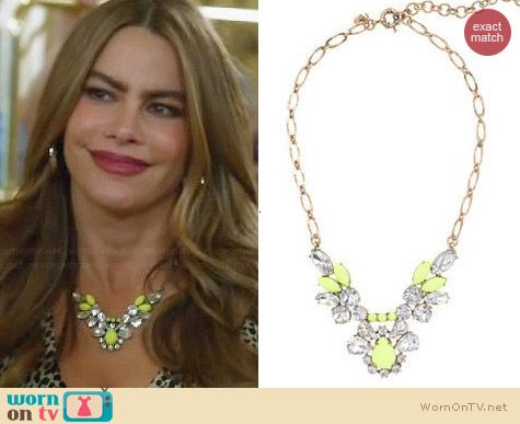 J. Crew Crystal Feather Necklace in Yellow worn by Sofia Vergara on Modern Family