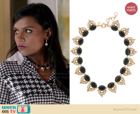 J. Crew Crystal Stone Cluster Necklace worn by Mindy Kaling on The Mindy Project