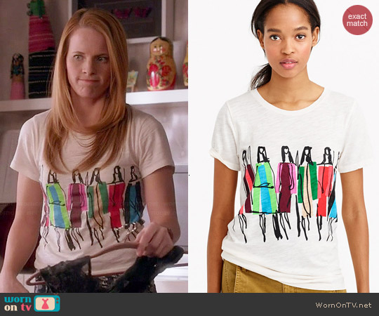 J. Crew Dancing Ladies Tee by Donald Robertson worn by Katie Leclerc on Switched at Birth