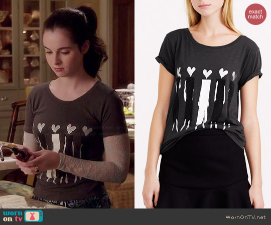 J. Crew Donald Robertson Heart Headed Tee worn by Vanessa Marano on Switched at Birth
