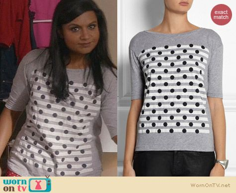 J. Crew Dots Over Stripes Tee worn by Mindy Kaling on The Mindy Project